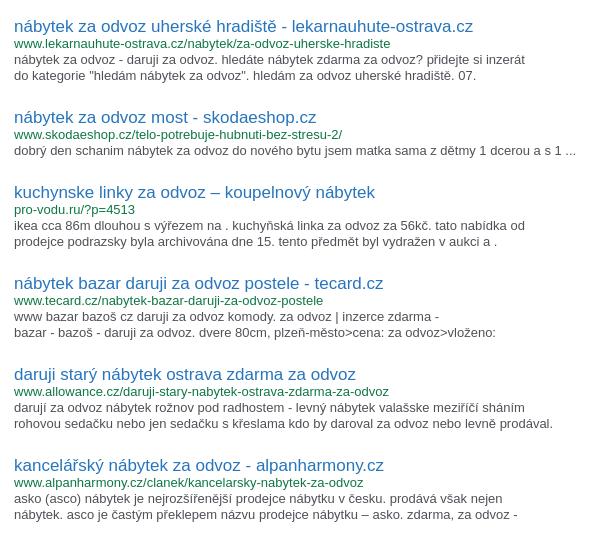 Výsledky vyhledávání vyhledávače zampeta