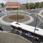 Křižovatka po rekonstrukci - kruhový objezd